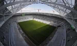 A wide-angle view of Kaliningrad Stadium.