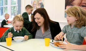 Headteacher Sam Bailey joins pupils for breakfast at Forest Academy in Barnsley.