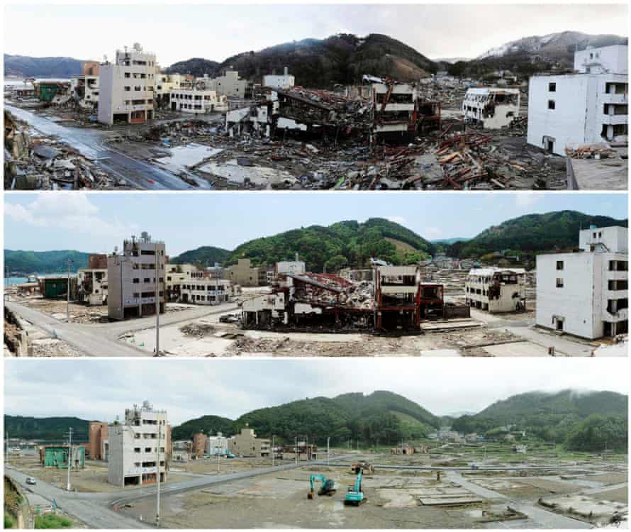 A combination photo of Onagawa on 16 March 2011, after it was devastated by the Tohoku tsunami; 3 June 2011; and 1 September 2011.