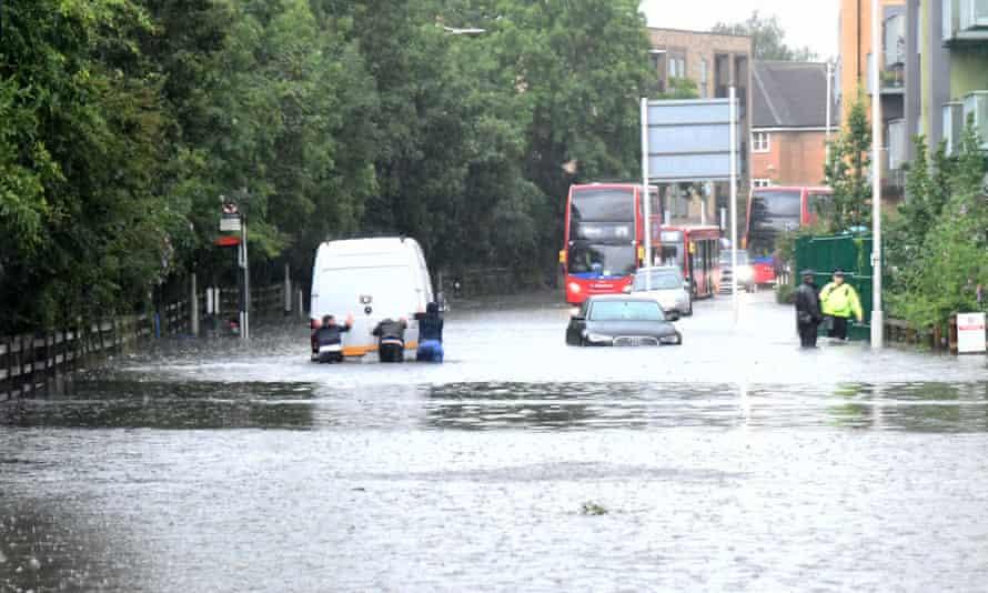 Traffic stranded in floods in east London