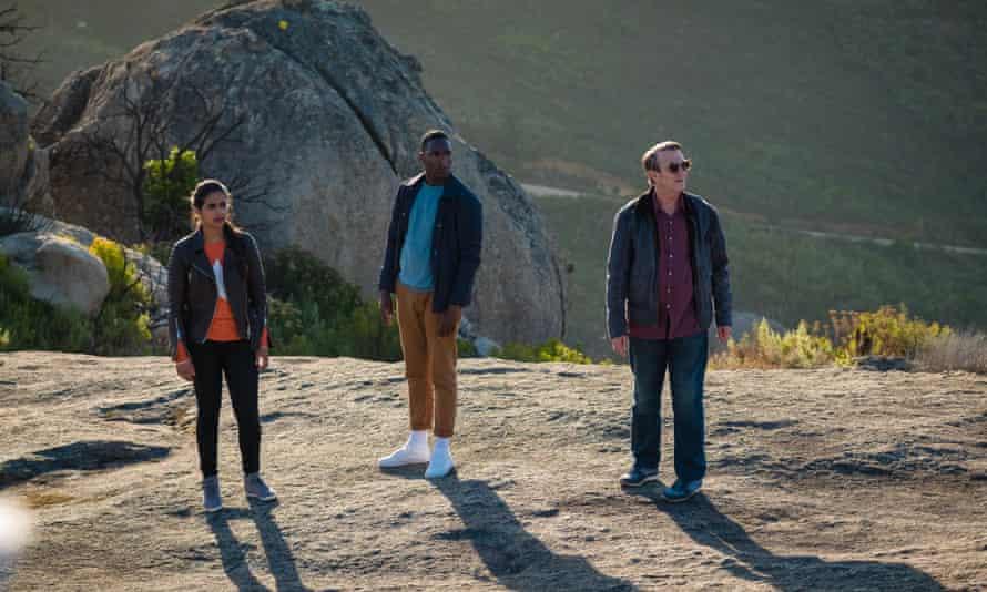 New companions Yasmin (Mandip Gill), Ryan (Tosin Cole), and Graham (Bradley Walsh).