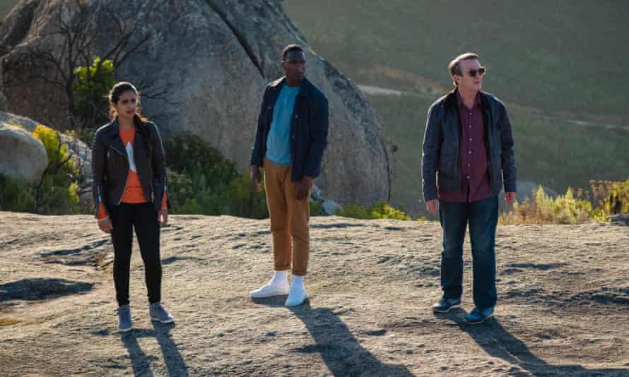 Yaz (Mandip Gill), Ryan (Tosin Cole) and Graham (Bradley Walsh) in Doctor Who, series 11.