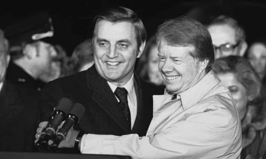 Jimmy Carter embraces Walter Mondale on the South Lawn of the White House in Washington in January 1978, after Carter returned from a nine-day overseas trip.