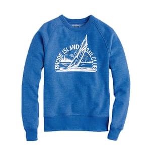 blue sweatshirt with white writing and logo JCrew