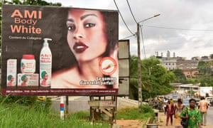 Ad advert for skin-whitening cream in Abidjan in the Ivory Coast, 2018