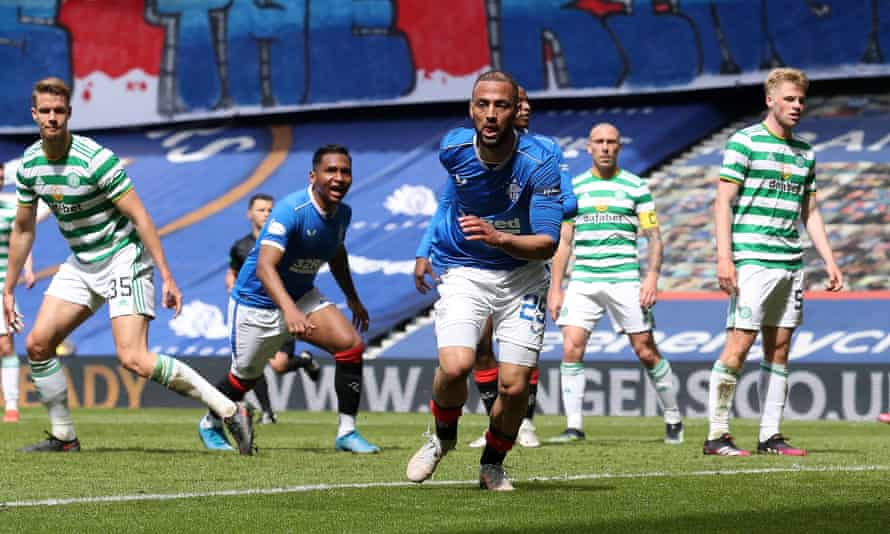Kemar Roofe celebrates after scoring Rangers' third goal – his second – during their Old Firm game against Celtic at Ibrox