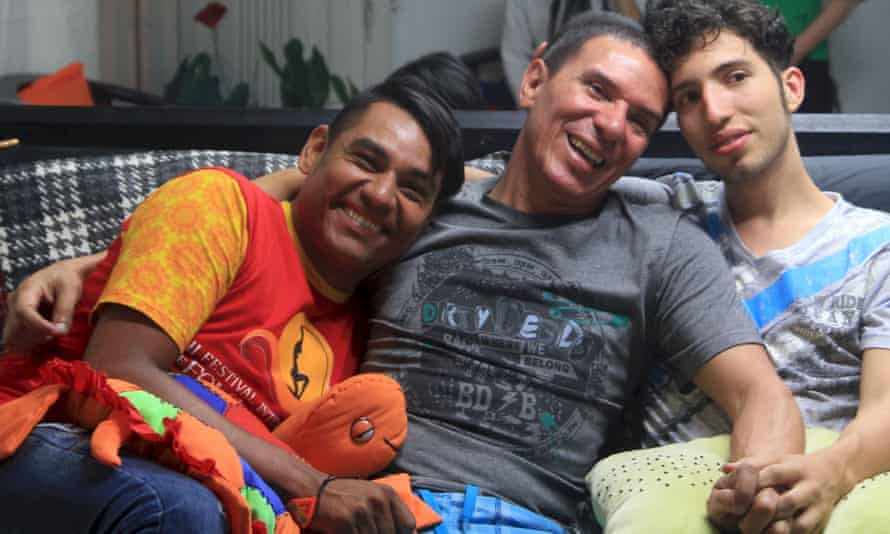 Alejandro Rodriguez, Manuel Bermudez and Victor Hugo Prada at their home in Medellín.