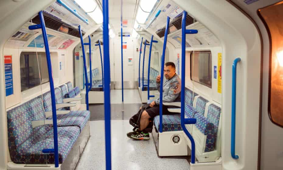 Bus driver Julian using the Victoria Line to get home from a late shift