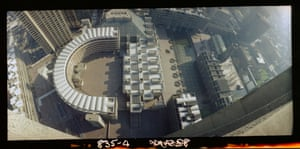 Panoramic view from above of the Barbican Centre, including Sculpture Court, as seen from Britannic House (Feb 1982)