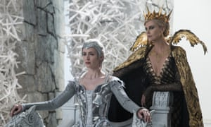 Literally turned into an ice queen by the death of her daughter … Emily Blunt, left, and Charlize Theron in The Huntsman: Winter's War.