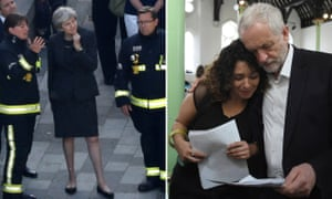 Theresa May meets firefighters; Jeremy Corbyn meets local people.