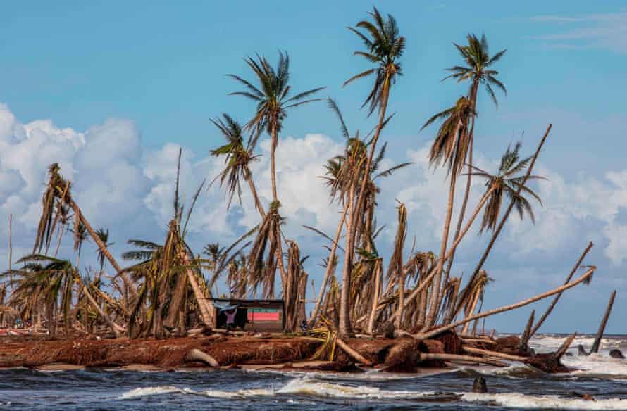 Devastation caused by Hurricane Iota in Haulover, Nicaragua, in November 2020.