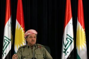 Masoud Barzani, the president of the Iraqi Kurdistan Region, at a press conference in Erbil