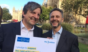EU campaigners Roger Casale, a former MP, and Nicolas Hatton outside the House of Commons.