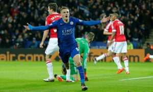 Jamie Vardy celebrates after scoring for Leicester against Manchester United