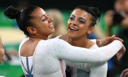 Ellie and Becky Downie embrace at the Rio 2016 Olympics