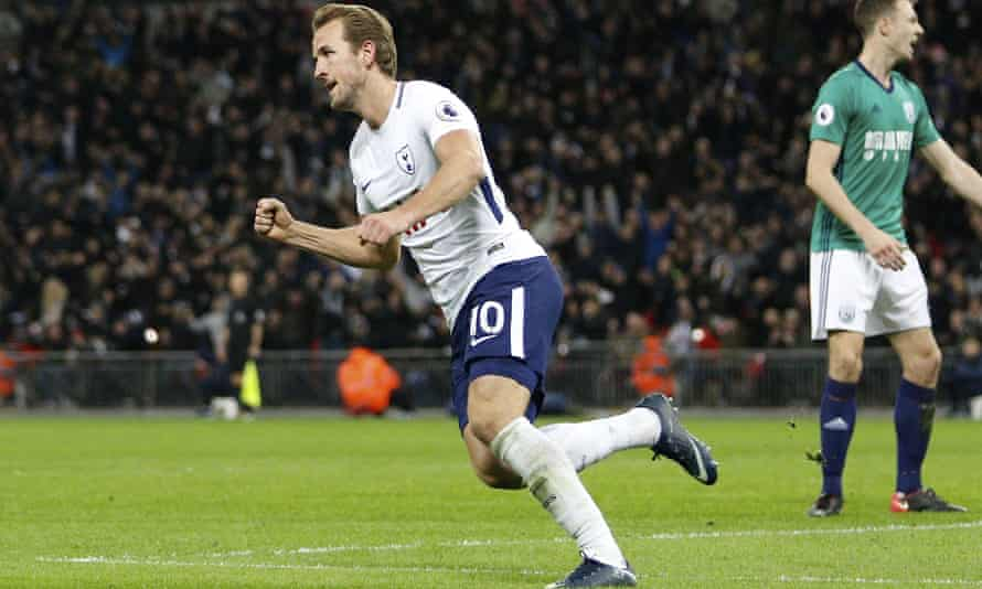 Harry Kane celebrates his goal for Spurs against West Brom.