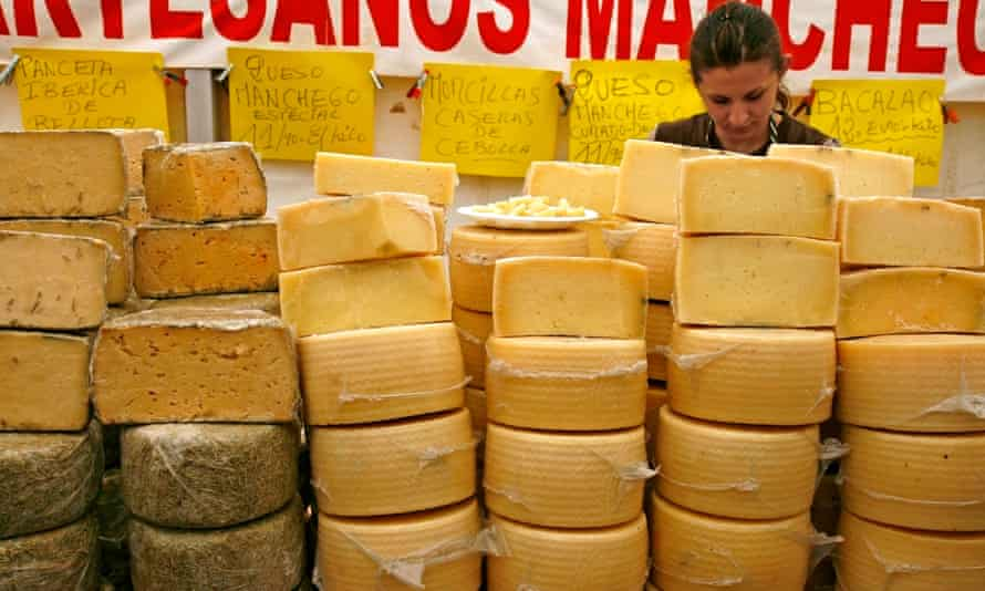 Manchego cheese for sale in Spain.