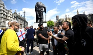 A Black Lives Matter protest in Parliament Square by the Winston Churchill statue in Westminster