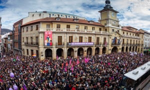 People take part at a rally at the City Hall square on the occasion of the International Women's Day in Oviedo, Asturias, northern Spain.