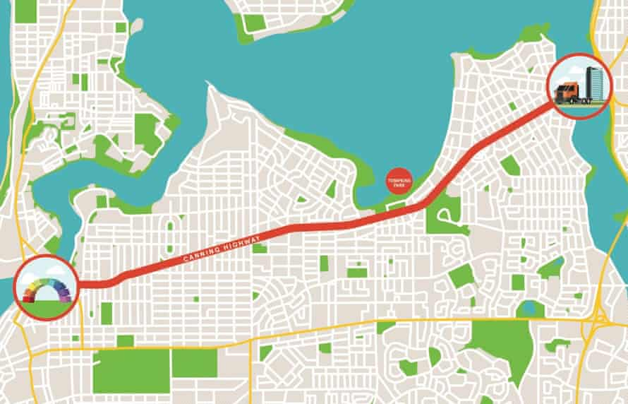 A map of Highway to Hell, a roving music festival and tribute to AC/DC taking over Perth's Canning Highway on Sunday.