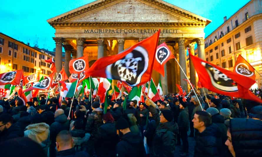 CasaPound supporters at a rally outside the Pantheon in Rome last year