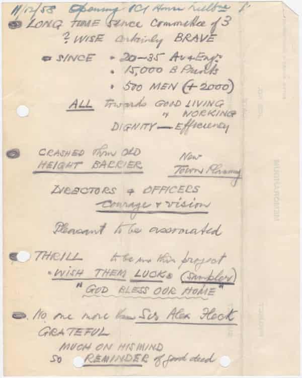 Sir Osborn McCutcheon's speech notes, written on the back of an old memo.