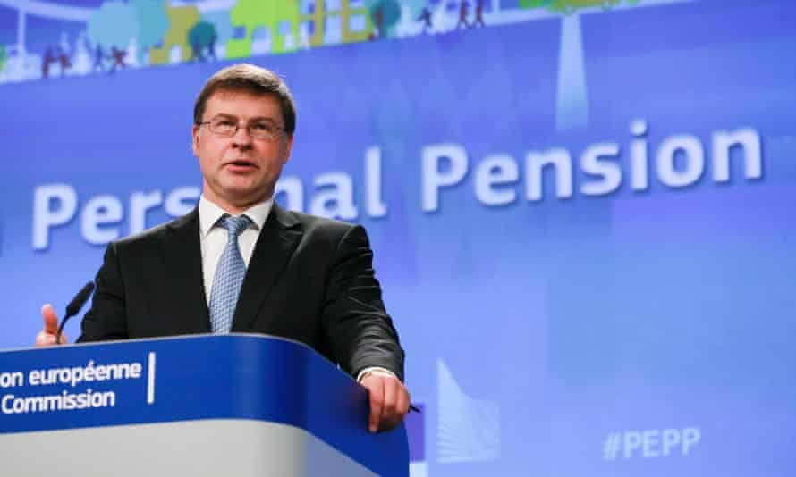 The European commission vice-president Valdis Dombrovskis sets out the pan-European pension plans in Brussels.