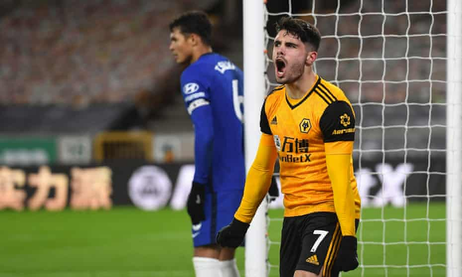 Pedro Neto celebrates after racing away to score a late winner for Wolves.