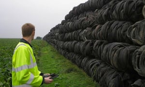 Illegally dumped tyres are counted by the Environment Agency.