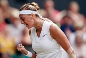 Petra Kvitova celebrates during the first set.