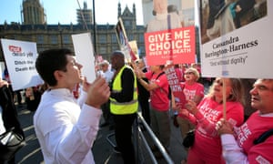 Rival groups of protesters outside parliament during a debate on assisted dying in 2015