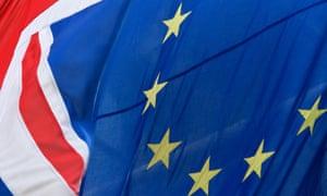 Union flag and the European flag