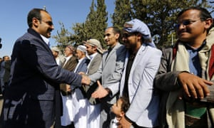 Houthi delegates arrive in Sana'a after attending the Sweden peace talks.