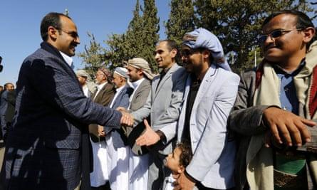 Houthi delegates arrive in Sana'a after attending the Sweden peace talks.