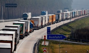 Trucks queuing at the German-Polish border on 18 March 2020, after both countries unilaterally imposed checks despite a Brussels plea for unity