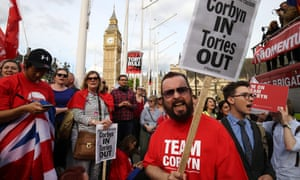 Corbyn supporters rally in his defence outside parliament last week.