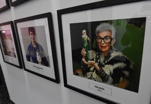 Framed portraits of famous Barbie doll designers over the years are displayed at the design centre