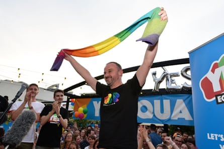 ACT chief minister Andrew Barr celebrates the result of the same-sex marriage postal vote in 2017/