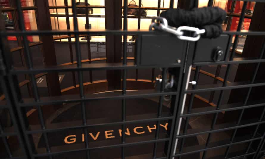 Givenchy's shuttered flagship London store on the first day of England's second national lockdown.