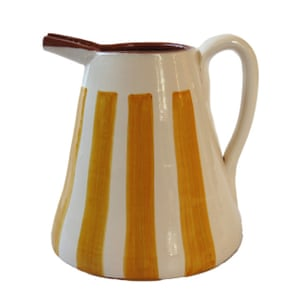 Terracotta striped jug, £39, by Casa Cubista, lusophile.co.uk