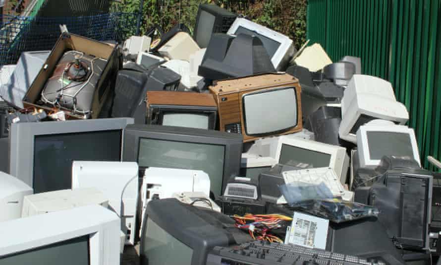 TV and computer screens in a municipal dump
