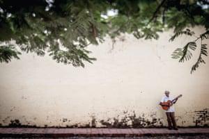 A guitar player in Trinidad
