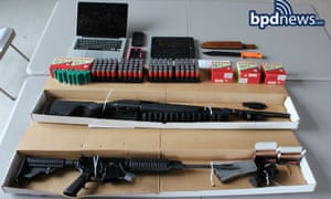 Firearms and ammunition seized by Boston Police after searching a car being driven to the World Pokemon Championships in Boston, US.