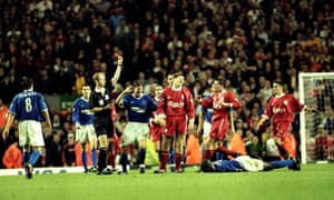 Liverpool derbies are always passionate affairs – Steven Gerrard is shown a red card after his foul on Everton's Kevin Campbell in 1999.