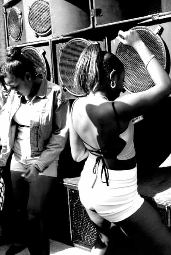 Women dancing at a sound system at Notting Hill carnival.