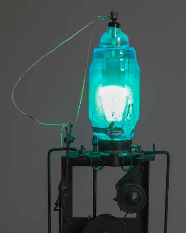 A detail of Télélumière No 4, 1963–4, using materials including cork, electromagnet, iron, mercury lamp, nylon thread, paint, steel and wood.