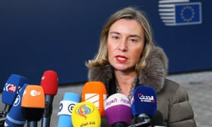 Federica Mogherini speaks to the press prior an EU foreign affairs ministers meeting in Brussels