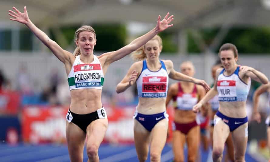 Keely Hodgkinson (left) crosses the finish line.