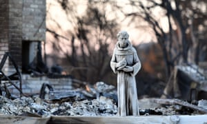 A statue remains at a burned out property in Santa Rosa, California.